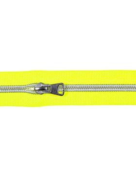 1 Meter Reißverschluss 5 mm neon gelb silber + 3 Zipper Endlos