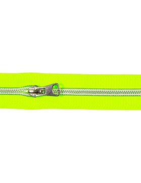 1 Meter Reißverschluss 5 mm neon grün silber + 3 Zipper Endlos