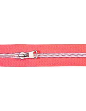 1 Meter Reißverschluss 5 mm neon pink silber + 3 Zipper Endlos