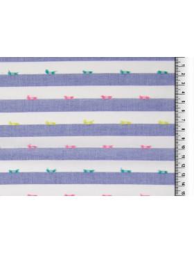 Baumwolle Webware blau weiß gestreift Tupfen bunt