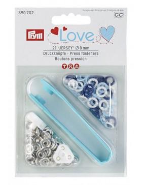 Prym Love Jersey Druckknöpfe 8mm dunkelblau hellblau