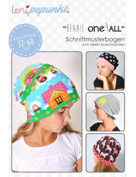 Papierschnittmuster Beanie One4 All Mütze Kopfumfang 32 bis 60 cm...