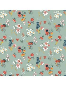 Beschichtete Baumwolle mint staubgrün Blümchen Blumen Streublümchen
