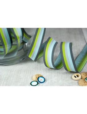 1m Webband Stripes mountain grün grau Farbenmix 20mm