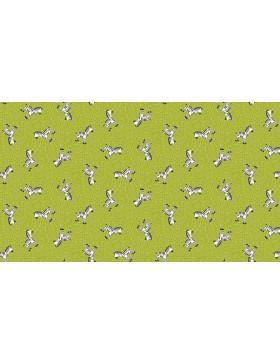 Baumwollstoff Jungle Friends Zebra Zebras auf grün apfelgrün 2201/g