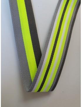 1 Meter Gurtband grau gelb neongelb schwarz 40 mm breit Polyester...