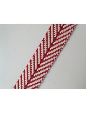 1 Meter Gurtband Baumwolle 40 mm  rot weiß Chevron Zick Zack Muster...