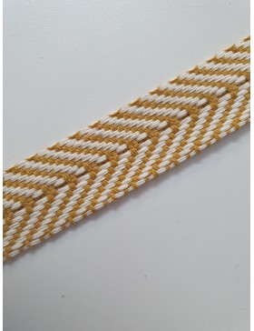 1 Meter Gurtband Baumwolle 40 mm senf gelb weiß Chevron Zick Zack...