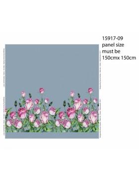 Jersey Panel Bordüre Blumen Rosen hellblau pink rosa  150 cm * 150 cm