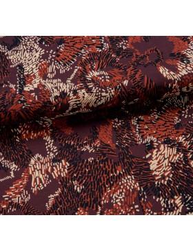Strickstoff Jersey Strick bordeaux rotbraun beige Blüten Blätter...