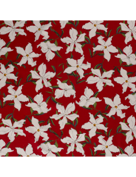 Viskose Leinen Stoff Hibiscus Blüten auf rot