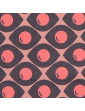 Samt Velvet Glance Punkte Muster anthrazit rose rosa pink retro by...