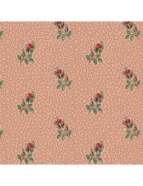 Baumwollstoff rose rosa Rosen Muster Annes English Scrapbook...