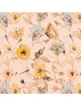 Viskose Webware Blumen Schmetterlinge auf rose rosa Marlene Swafing...