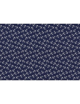 Baumwolle Popeline maritim Anker dunkelblau blau weiß Ostsee