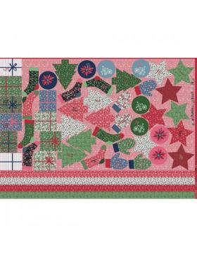 Adventskalender Panel rot grün Säckchen Beutel 100 x 140 cm