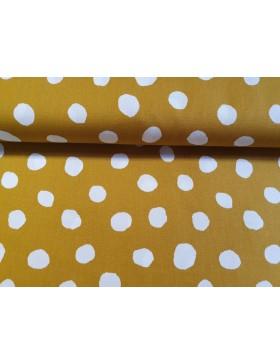 Baumwolle Webware Dots Punkte Tupfen senf senfgelb weiß...