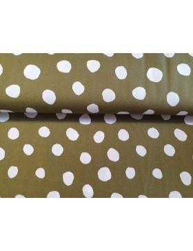 Baumwolle Webware Dots Punkte Tupfen khaki oliv weiß unregelmäßig...