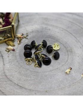 Knopf Gem mit Steg black schwarz  gold10 mm Atelier Brunette