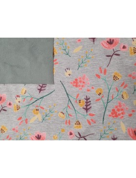 Softshell Fleece grau melange meliert Blumen Blümchen rose koralle...