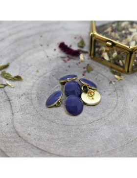 Knopf Gem cobalt blau königsblau Gold Steg 12 mm Atelier Brunette