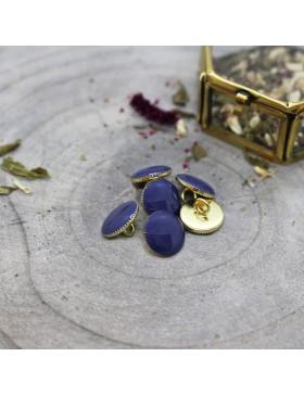 Knopf Gem Night dunkelblau blau Gold Steg 12 mm Atelier Brunette