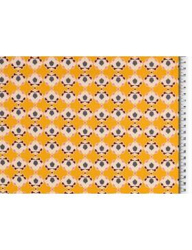 Baumwolle Webware Blumen Blüten retro gelb senf Klaranähta