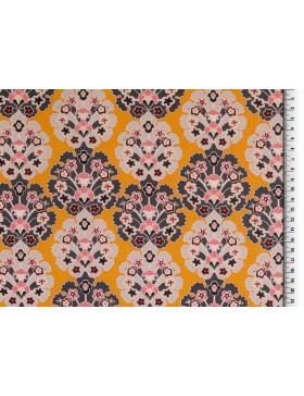 Beschichtete Baumwolle retro Motive Ornamente gelb senf Wachstuch...