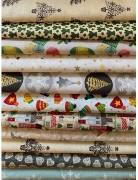 1m Weihnachtsstoff Paket Baumwollstoff für Adventskalender...