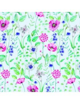 French Terry Sweat Blumen Mohnblumen Digitaldruck GOTS weiß