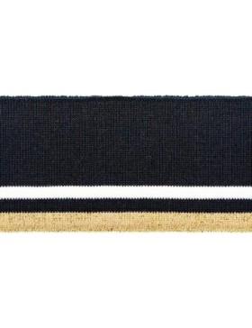 Bündchen Cuff dunkelblau navy weiß gold Glitzer 6 cm breit