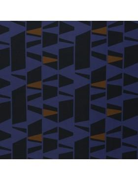 Cozy by Brinarina French Terry blau dunkelblau ocker Geometrisch...