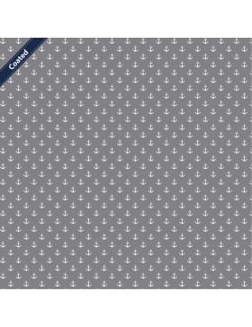 Beschichtete Baumwolle kleine Anker maritim grau hellgrau weiß