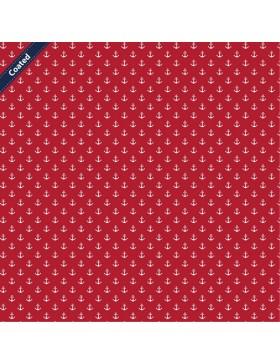 Beschichtete Baumwolle kleine Anker maritim rot weiß