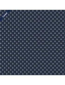 Beschichtete Baumwolle kleine Anker maritim blau dunkelblau weiß