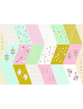 Panel Wimpel Wimpelkette rosa hellgrün senf weiß Luftballon Muffins...