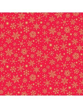 Baumwollstoff Yuletide Metallic Snowflake Schneeflocken rot gold...