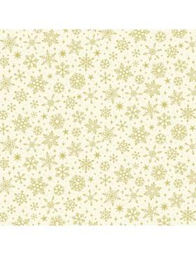 Baumwollstoff Yuletide Metallic Snowflake Schneeflocken creme weiß...