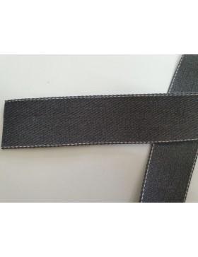 1 Meter Gurtband dunkelgrau grau mit weißem Nadelstreifen 40 mm...
