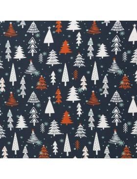 French Terry Sweat Weihnachtsbaum Schneeflocken blau rot weiß Frohe...