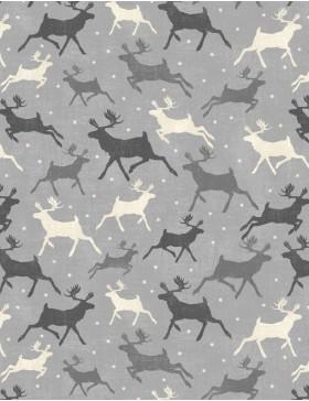 Baumwollstoff Hirsch Elch grau schwarz weiß Weihnachten Holiday in...