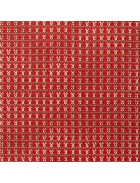 Baumwollstoff Elch Kopf auf rot Merry Christmas Weihnachten Webware