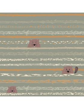 Baumwolle Webware Biber oliv khaki Popeline Beaver's Tooth & Trees...