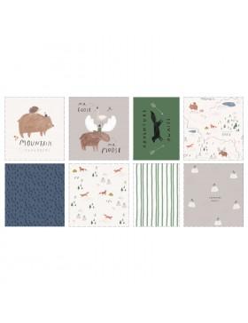 Baumwolle Webware Panel Misty Mountains Tiere Kissen Katia Fabrics