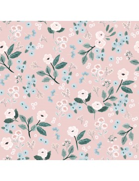 Sweat Stoff rosa rose Flowers Blumen pastell Katia Fabrics