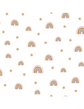 Soft Sweat Stoff Rainbow Regenbogen auf weiß GOTS
