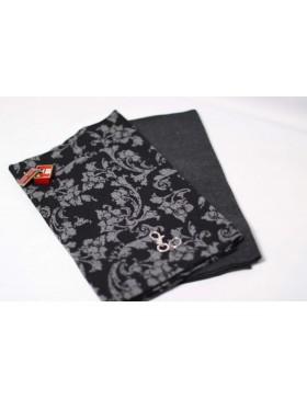 Stoffpaket Kuschelschal grau schwarz Ranken Muster DIY Paket inkl....