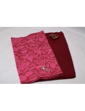 Stoffpaket Kuschelschal pink bordeaux Ranken Muster DIY Paket inkl....