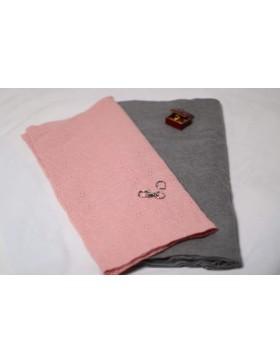 Stoffpaket Kuschelschal grau rosa Lochstickerei DIY Paket inkl....