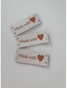 """3 Handmade DIY Label """"Made with Love"""" Herz creme weiß längs"""